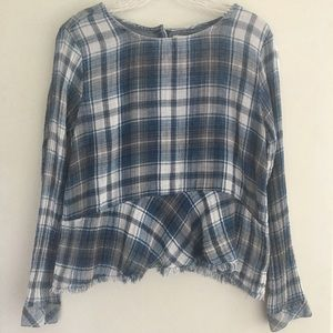 🌟Anthropologie Cloth and Stone plaid top SIZE S